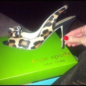 Kate Spade Chariot Leopard Print Hair-calf Heels